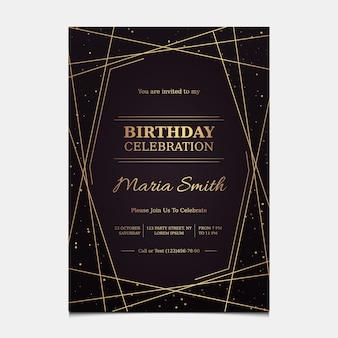 Modelo de convite de aniversário elegante em gradiente