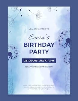Modelo de convite de aniversário em aquarela pintado à mão