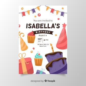 Modelo de convite de aniversário em design plano