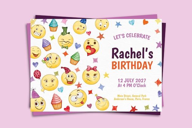Modelo de convite de aniversário em emoji pintado à mão em aquarela