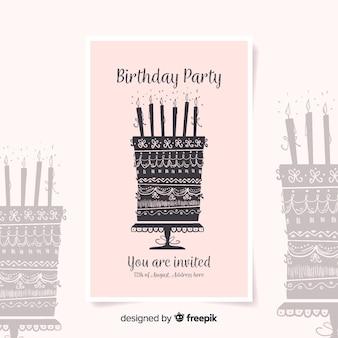 Modelo de convite de aniversário em estilo aquarela