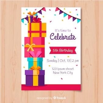 Modelo de convite de aniversário em estilo simples