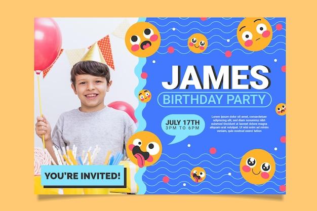 Modelo de convite de aniversário emoji com foto