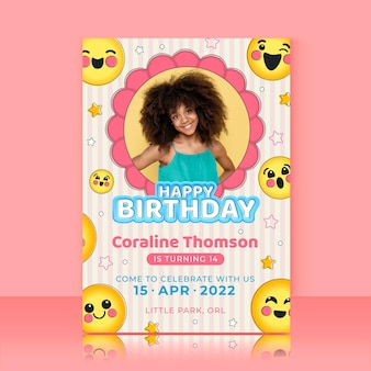 Modelo de convite de aniversário emoji com foto Vetor grátis