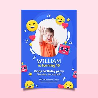 Modelo de convite de aniversário emoji de desenho animado com foto