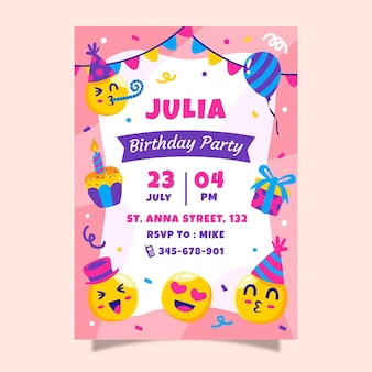 Modelo de convite de aniversário emoji de desenho animado