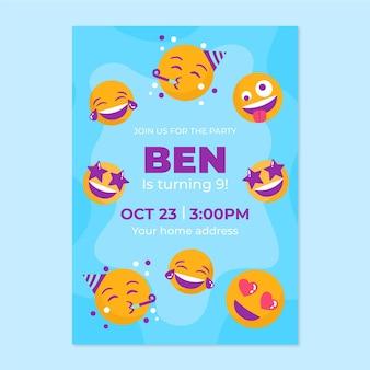 Modelo de convite de aniversário emoji desenhado à mão