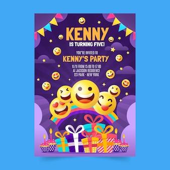 Modelo de convite de aniversário emoji simples