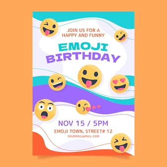 Modelo de convite de aniversário emoji