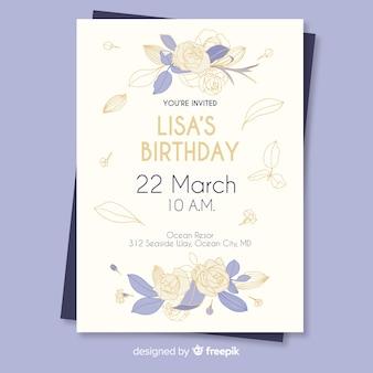 Modelo de convite de aniversário floral colorido