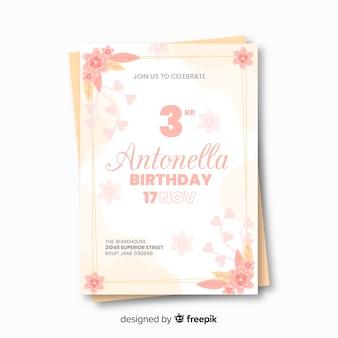 Modelo de convite de aniversário floral com unicórnio