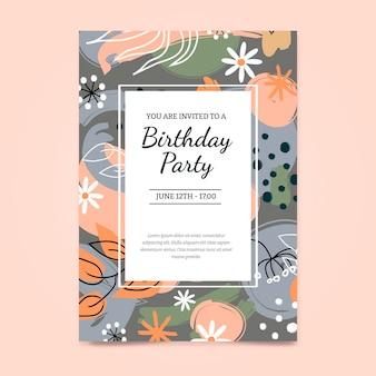 Modelo de convite de aniversário floral
