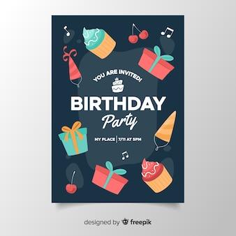 Modelo de convite de aniversário fofo em design plano