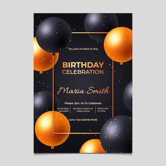Modelo de convite de aniversário gradiente elegante