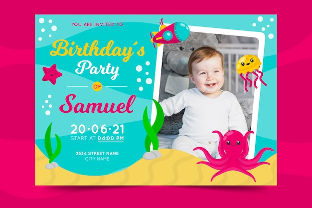 Modelo de convite de aniversário infantil colorido