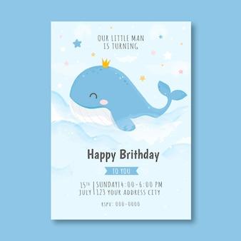 Modelo de convite de aniversário infantil com baleia