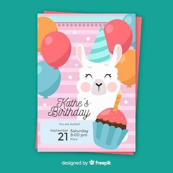 Modelo de convite de aniversário infantil com bonito dos desenhos animados