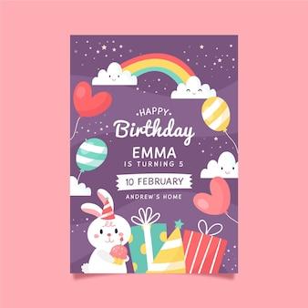 Modelo de convite de aniversário infantil com coelho e arco-íris