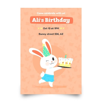 Modelo de convite de aniversário infantil com coelho