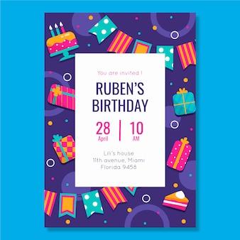 Modelo de convite de aniversário infantil com elementos ilustrados