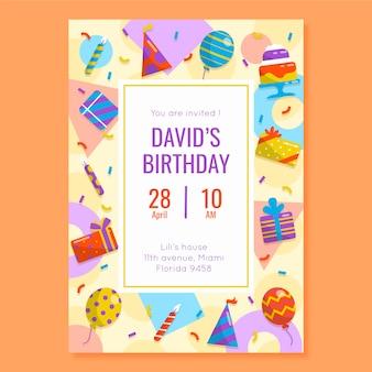 Modelo de convite de aniversário infantil com elementos