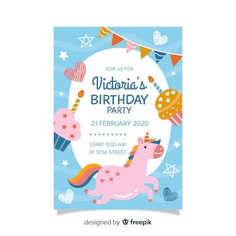 Modelo de convite de aniversário infantil com unicórnio
