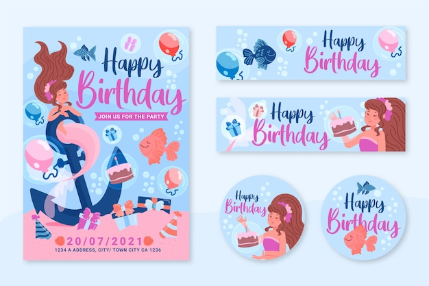 Modelo de convite de aniversário infantil em design plano