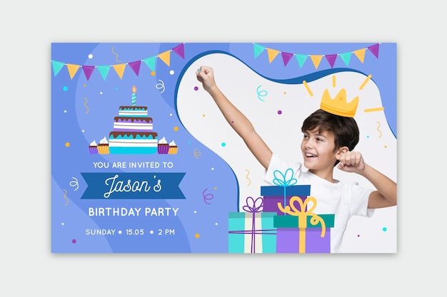 Modelo de convite de aniversário infantil multicolorido