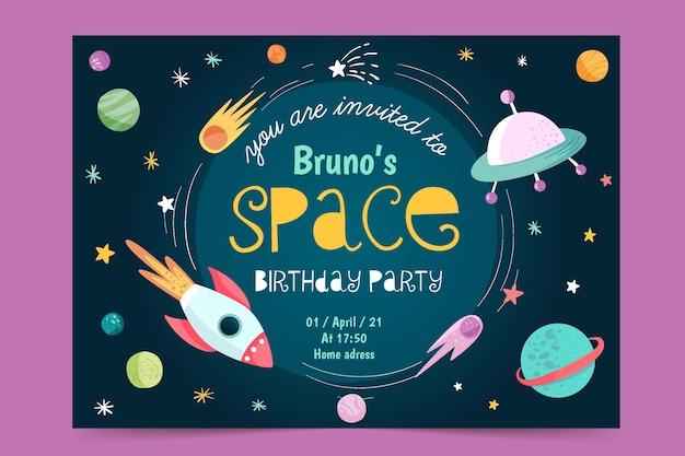 Modelo de convite de aniversário infantil nave espacial