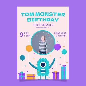 Modelo de convite de aniversário monstro com foto