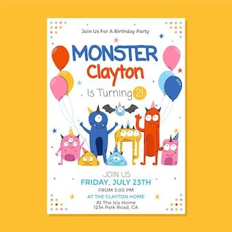 Modelo de convite de aniversário monstro