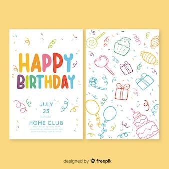 Modelo de convite de aniversário na mão desenhada estilo