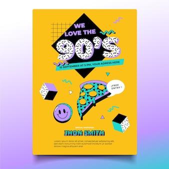 Modelo de convite de aniversário nostálgico desenhado à mão nos anos 90