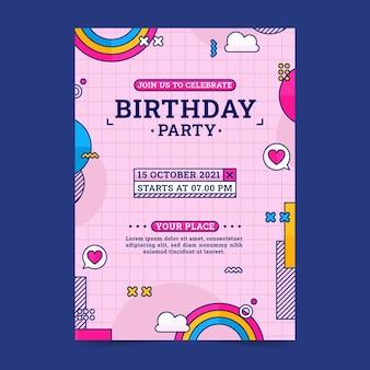 Modelo de convite de aniversário nostálgico dos anos 90
