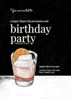 Modelo de convite de aniversário para cavalheiros com ilustração de coquetel