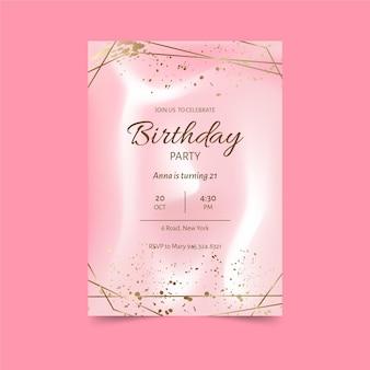 Modelo de convite de aniversário rosa elegante