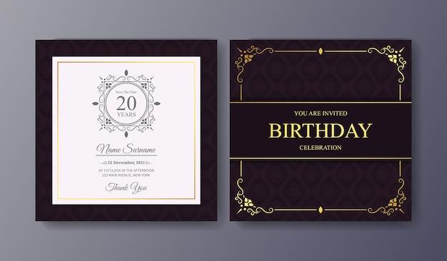 Modelo de convite de aniversário roxo elegante