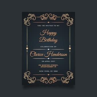 Modelo de convite de aniversário sofisticado