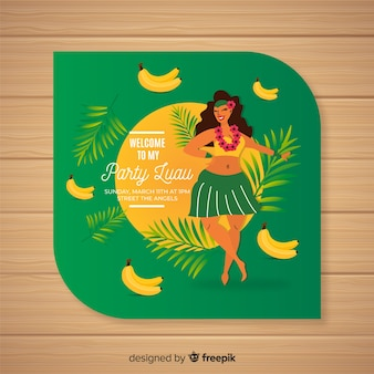 Modelo de convite de bananas luau