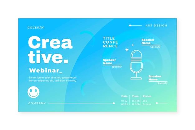 Modelo de convite de banner azul para webinar