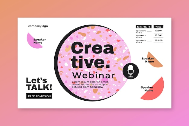 Modelo de convite de banner de webinar criativo