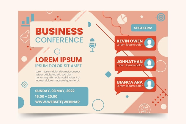 Modelo de convite de banner de webinar de conferência de negócios