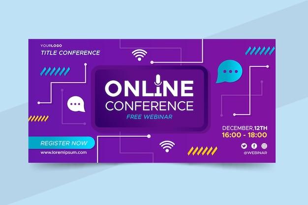 Modelo de convite de banner para webinar com formas