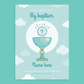 Modelo de convite de batismo de desenho animado