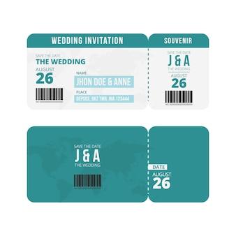 Modelo de convite de bilhete de casamento