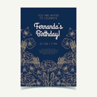 Modelo de convite de cartão de aniversário floral