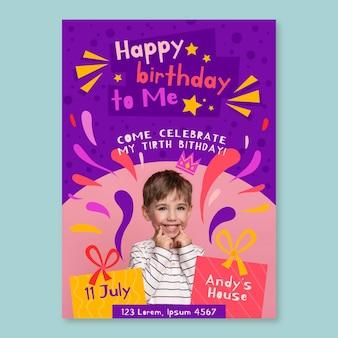 Modelo de convite de cartão de aniversário infantil com foto