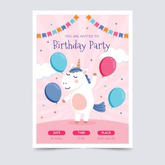 Modelo de convite de cartão de aniversário infantil