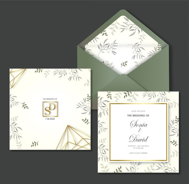 Modelo de convite de cartão de casamento com envelope
