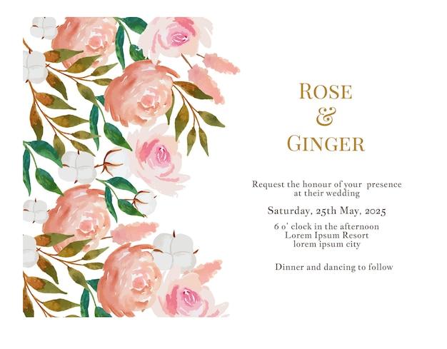 Modelo de convite de cartão de casamento de flores